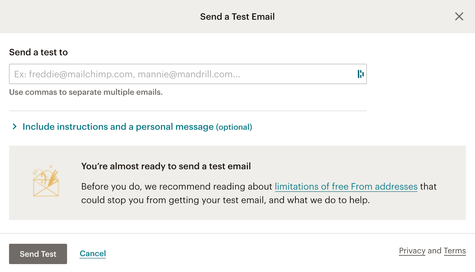 test mail mailchimp