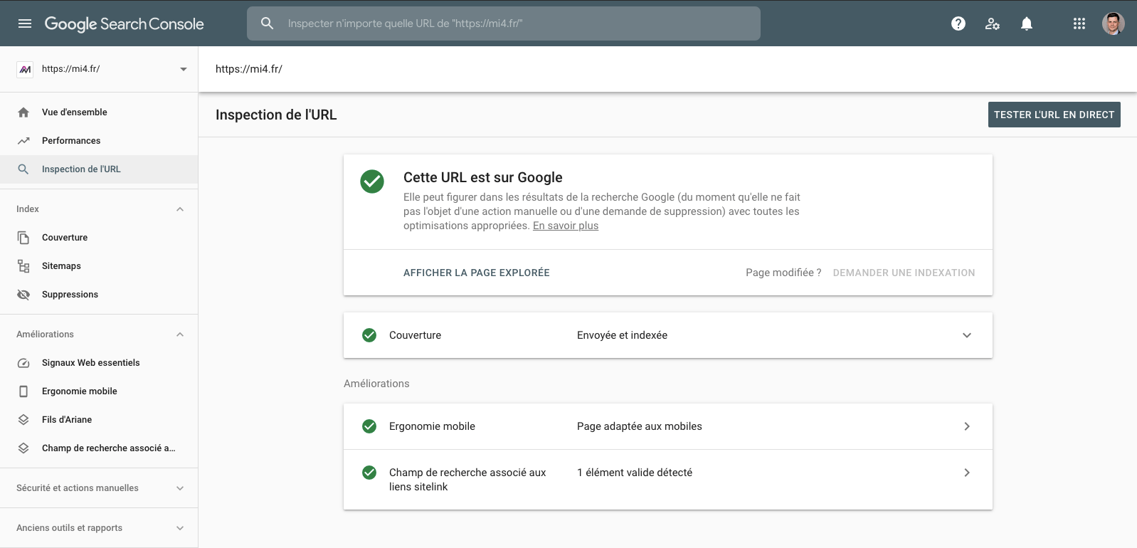 inspection URL search console