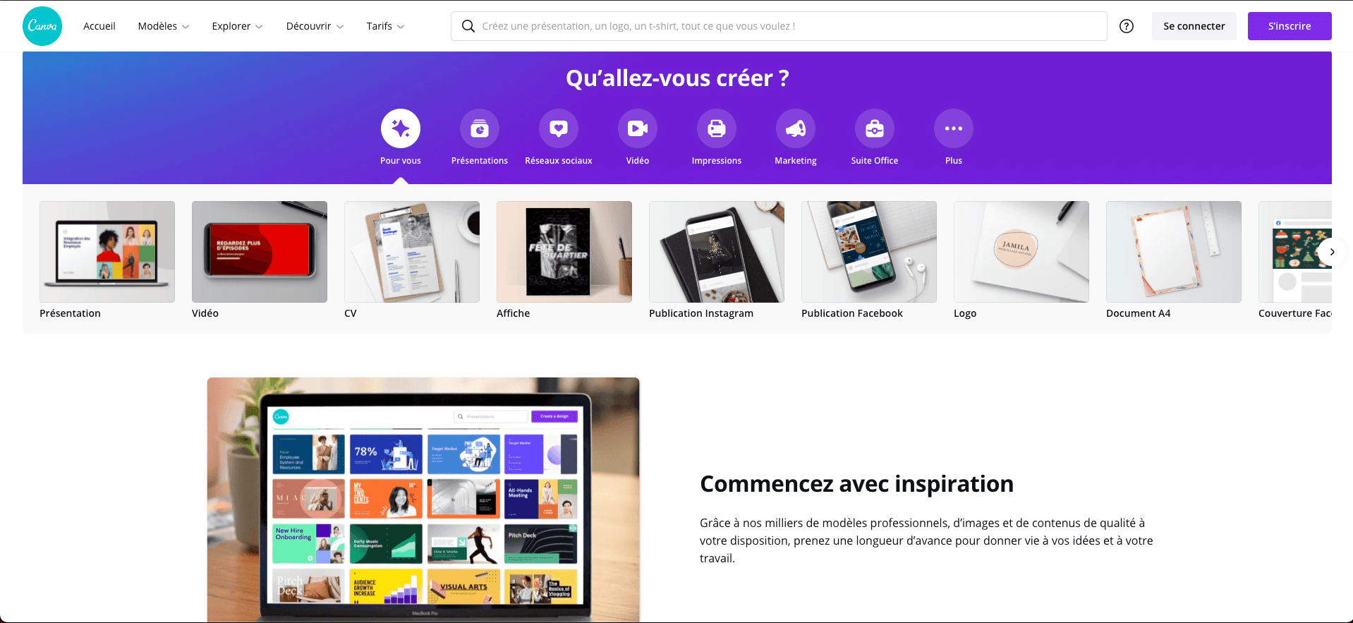 Outil infographie Canva